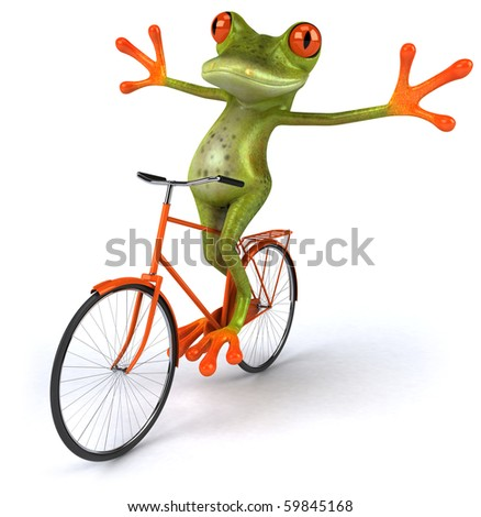 Frog on a bicycle - stock photo