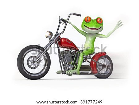 Frog on Motorcycle - Comical green frog speeding along on a motorcycle.  - stock photo