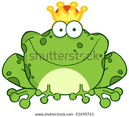 Frog Prince Cartoon Character - stock photo