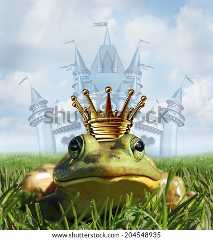 Frog prince castle concept with gold crown representing the fairy tale symbol of hope romance and change in a transformation from an amphibian to handsome royalty after a princess kiss. - stock photo
