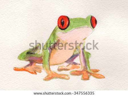 Frog red-eyed tree tropical exotic forest, tropical frog, green leaves, wildlife, watercolor illustration. watercolor unusual exotic nature. tropical frog illustration