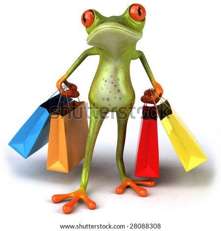Frog shopping - stock photo