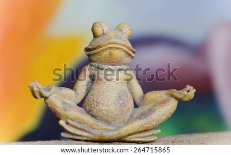 Frog which meditates - stock photo