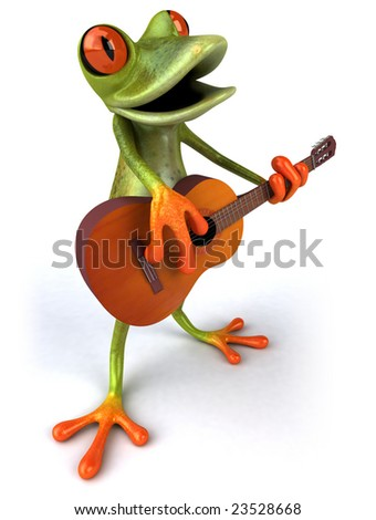 Frog with a guitar - stock photo