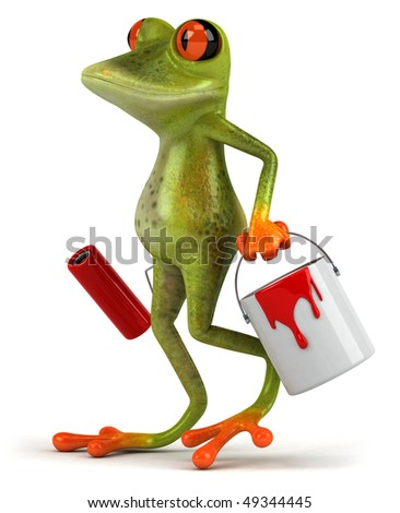 Frog with paint - stock photo