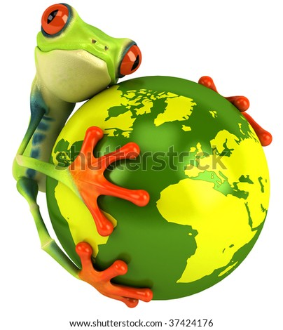 Frog with the world - stock photo