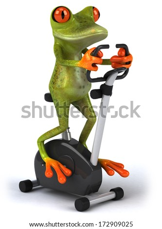 Frog working out - stock photo