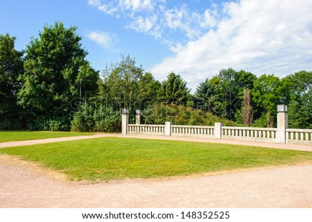 Frogner Park, a public park located in the borough of Frogner in Oslo, Norway, and historically part of Frogner Manor. - stock photo
