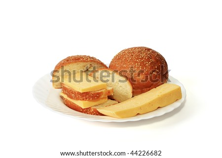 From a white loaf and cheese the tasty sandwich by a breakfast turns out - stock photo