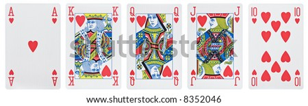 From ace to ten. all hearts [with clipping path] - stock photo