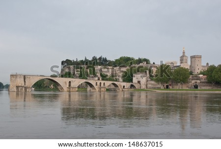 From another side of the Rhone river you can see all landmarks of Avignon