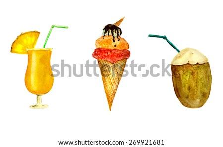 from beach bar: fresh juice, ice cream, coconut milk, hand-painted watercolor - stock photo