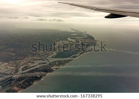 From flight over Chennai, India. Aerial shot from emirates flight wing.