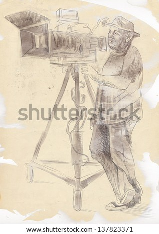 From history to the present - the art of film: Cameraman. /// Full sized hand drawing illustration. - stock photo