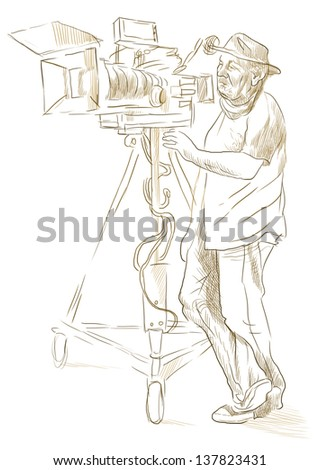 From history to the present - the art of film: Cameraman. /// Full sized hand drawing illustration (outlines in shades of brown). - stock photo