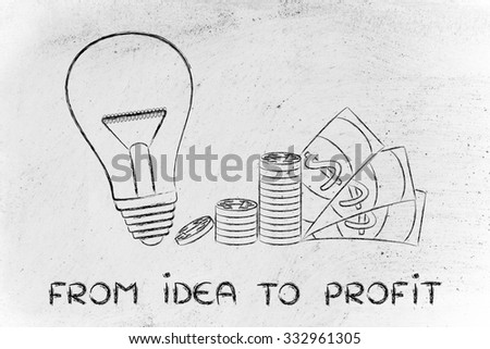 from idea to profit: lightbulb next to coin stacks and cash