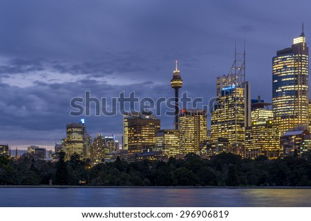 From Mrs Macquarie's Chair, you can see the entire skyline of Sydney. Here I focussed on the Sydney Tower Eye and downtown offices. - stock photo