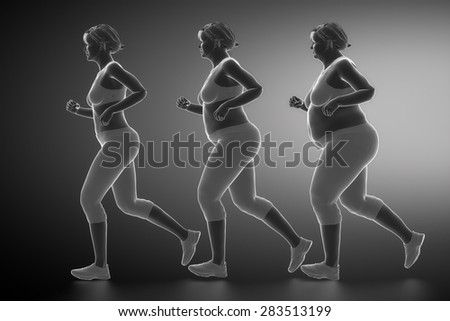 From obesity to healthy life style - stock photo
