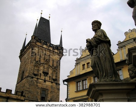 from the Charles bridge in Prague - stock photo