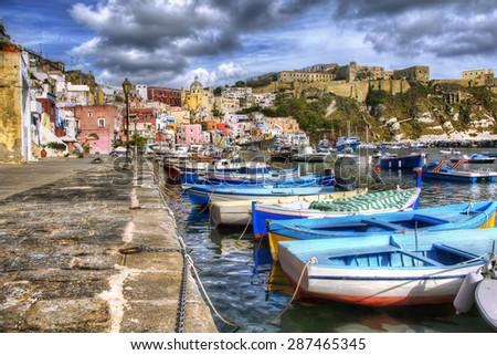 From the Island of Procida, Bay of Naples, Italy - stock photo