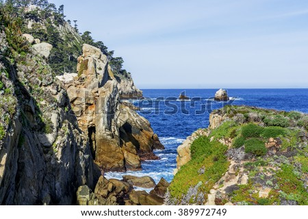 From the North Shore Trail, you see Bluefish Cove, in Point Lobos State Natural Reserve, along the rugged Big Sur coastline, near Carmel and Monterey, CA. on the California Central Coast. - stock photo