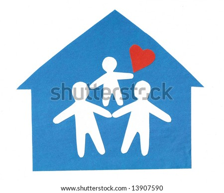 From the silhouettes of people cut out from a paper the composition representing happy family is combined - stock photo