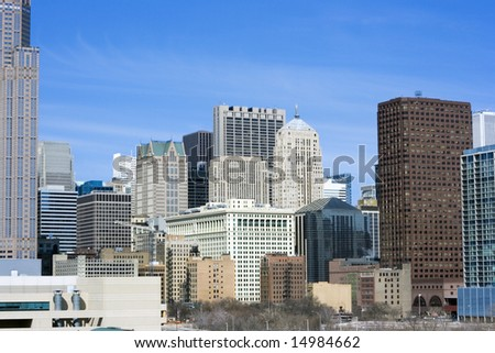 From the south side - office buildings in Chicago, IL. - stock photo