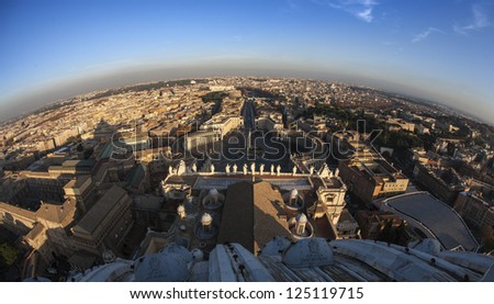 From the top of Saith Peter's Church, Rome - stock photo