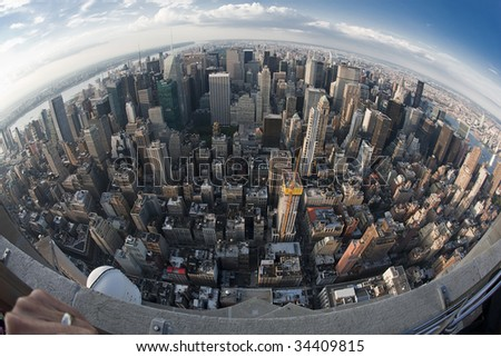From the top of the empire state building NYC - stock photo