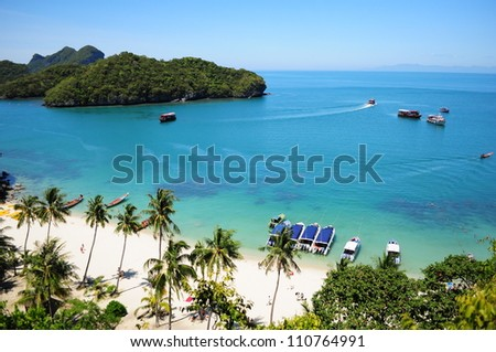 From top of view point on Vua Ta Lub Island in Surattani, Thailand. 500M from the beach - stock photo