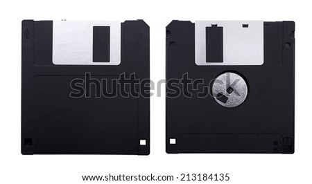 Front and back 3.5'' inch floppy disk isolated on white background. - stock photo