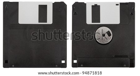 Front and back of a black floppy disk over a white background - stock photo