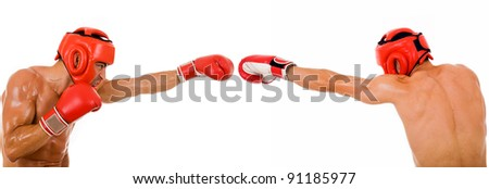 Front and back of a young boxer fighter on white background - stock photo