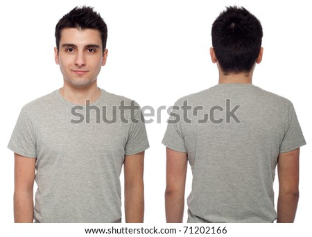 front and back of a young casual man wearing t-shirt isolated on white background - stock photo