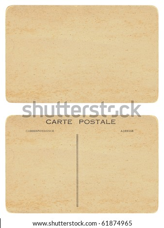 Front and back of antique blank postcard - stock photo