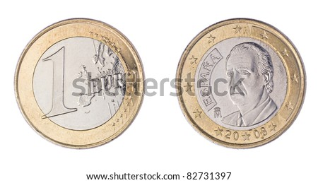 Front and Back of One Euro Coin Isolated on White Background