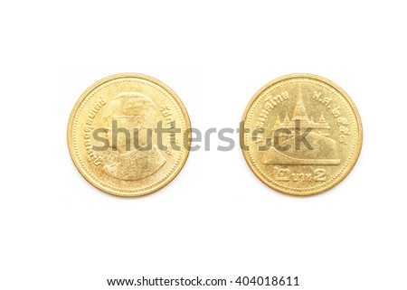 Front and back of Thai coin 2 baht. - stock photo