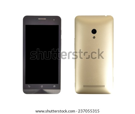 front and back smart phone with golden case cover and camera led flashlight isolated - stock photo