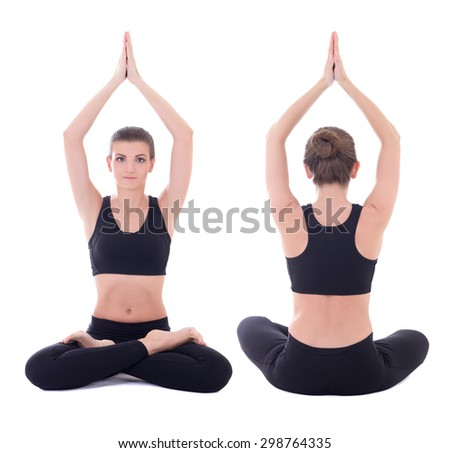 front and back view of beautiful woman doing yoga in lotus pose isolated on white background - stock photo
