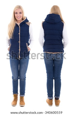 front and back view of beautiful woman in warm clothes isolated on white background - stock photo