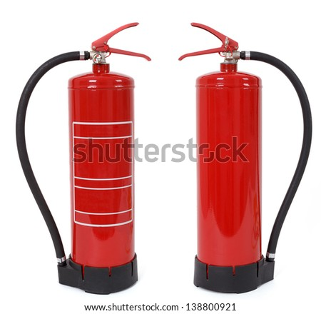 front and back view of fire extinguisher isolated on white - stock photo