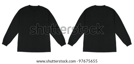 Front and Back View of Long Sleeve Black Knit Tshirt - stock photo