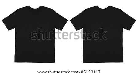 Front and Back View of Off Body Black Tshirt - stock photo