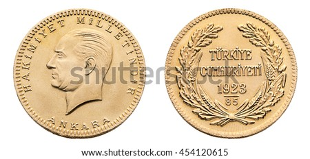 Front and back view of Turkish gold coin called Besli Ata isolated on white background.   - stock photo
