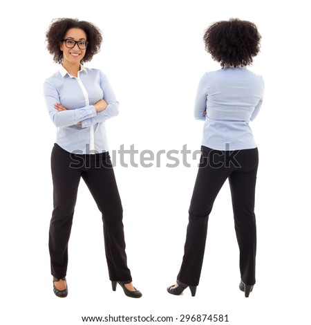 front and back view of young african american business woman isolated on white background - stock photo