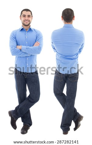 front and back view of young arabic business man in blue shirt isolated on white background - stock photo