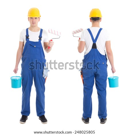 front and back view of young man painter in blue coveralls isolated on white background - stock photo