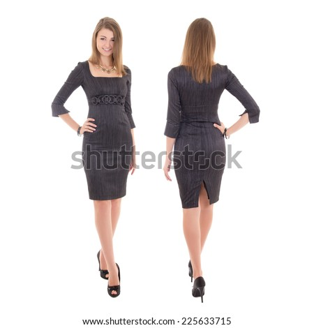 front and back view of young woman in dress isolated on white background - stock photo