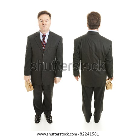 Front and back views of a mature businessman holding a bag lunch.  Full body isolated.  (larger size because two images are composited together.) - stock photo