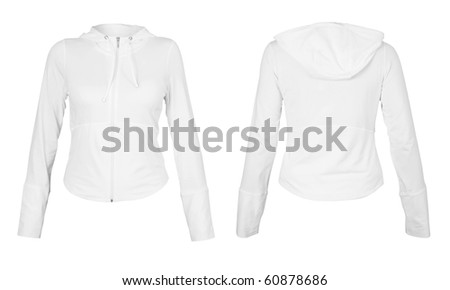 Front and back white t-shirt isolated on white background. With Clipping Path - stock photo